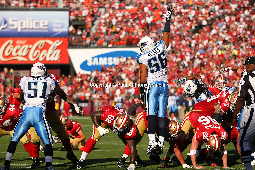 Tennessee Titans linebacker Colin Allred (56) leaps while attempting to block a kick during the NFL football game against the San Francisco 49ers, November 8, 2009 in San Francisco, California. The Titans won the game 34-27. (©Paul Anthony Spinelli)