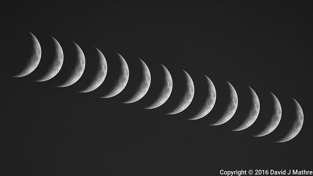 Waxing Crescent Moon. Composite of 13 images taken with a Nikon D800 camera and 600 mm f/4 VR lens (ISO 400, 600 mm, f/5.6, 1/1250 sec).