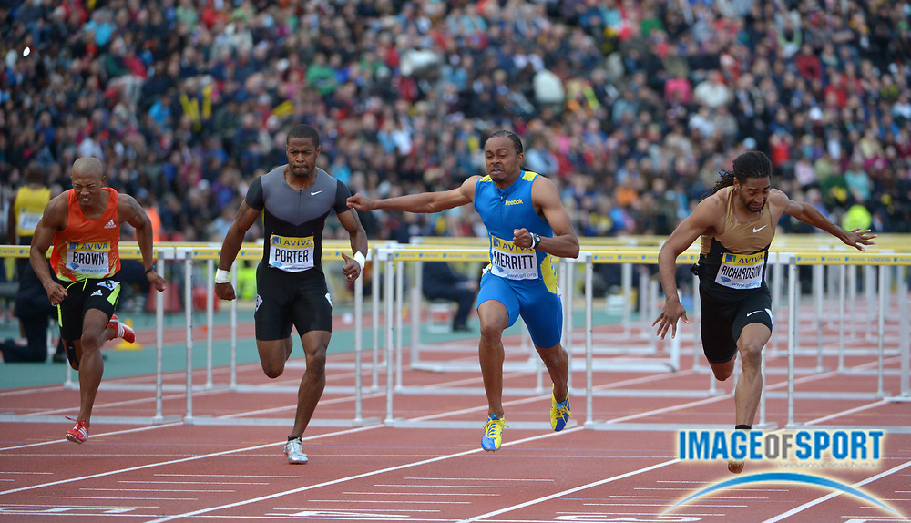 Jul 13, 2012; London, UNITED KINGDOM; Aries Merritt (USA), second from left, defeats Jason Richardson (USA) to win the 110m hurdles in a meet-record 12.93 to 13.06 in the 2012 Aviva London Grand Prix at the Crystal Palace. From left: Joel Brown (USA), Jeff Porter (USA) Merritt and Richardson.
