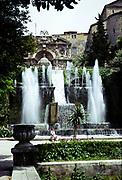 Fountains at Villa D'Este, 16th century villa in Tivoli, Rome, Italy 1974