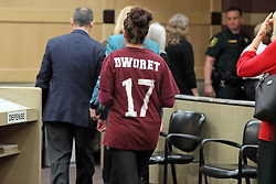 Family members of Marjory Stoneman Douglas shooting victims leave the courtroom after Nikolas Cruz's arraignment on Wednesday, March 14, 2018 at the Broward County Courthouse in Fort Lauderdale, Fla. Cruz is accused of opening fire at Marjory Stoneman Douglas High School in Parkland on Feb. 14, killing 17 students and adults. Photo by Amy Beth Bennett/Sun Sentinel/TNS/ABACAPRESS.COM