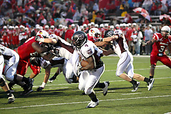 25 September 2010:  Chris Douglas studies the line looking for a hole.  The Missouri State Bears lost to the Illinois State Redbirds 44-41 in double overtime, meeting at Hancock Stadium on the campus of Illinois State University in Normal Illinois.