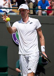 LONDON, ENGLAND - Wednesday, July 11, 2018: Kevin Anderson (RSA) during the Gentlemen's Singles Quarter-Final match on day nine of the Wimbledon Lawn Tennis Championships at the All England Lawn Tennis and Croquet Club. (Pic by Kirsten Holst/Propaganda)