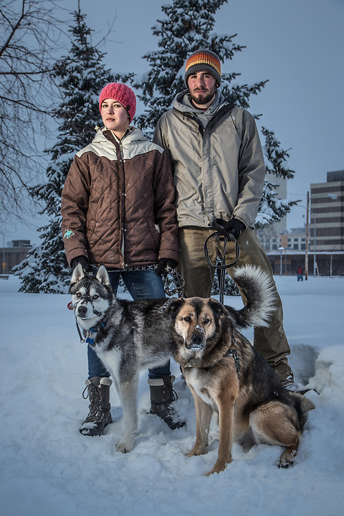 BreAnne Hovley and James Long with their dogs, Conan and Dirk, on the Delaney Park Strip, Anchorage  <brehovley@yahoo.com>