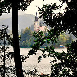 DIscover the church of the assumption in Sovenian lake Bled. Fisherman enjoying his afternoon in the quietness of  this paradise.
