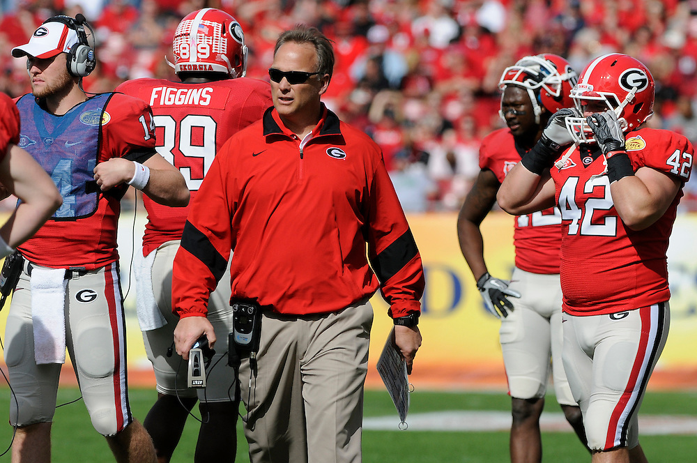 January 2, 2012: Head coach Mark Richt of Georgia in action during the NCAA football game between the Michigan State Spartans and the Georgia Bulldogs at the 2012 Outback Bowl at Raymond James Stadium in Tampa, Florida.