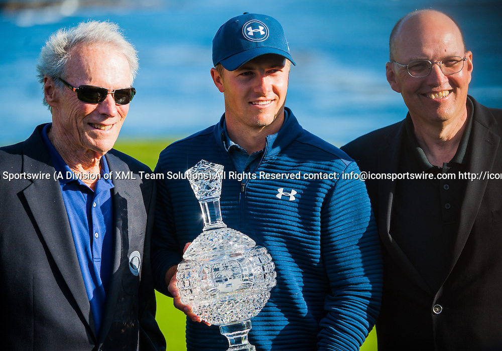 PEBBLE BEACH, CA - FEBRUARY 12: Jordan Spieth of the United States with Clint Eastwood and the director of Pebble Beach after the final round on February 12, at Pebble Beach Golf Links in Pebble Beach,CA  (Photo by Samuel Stringer/Icon Sportswire)