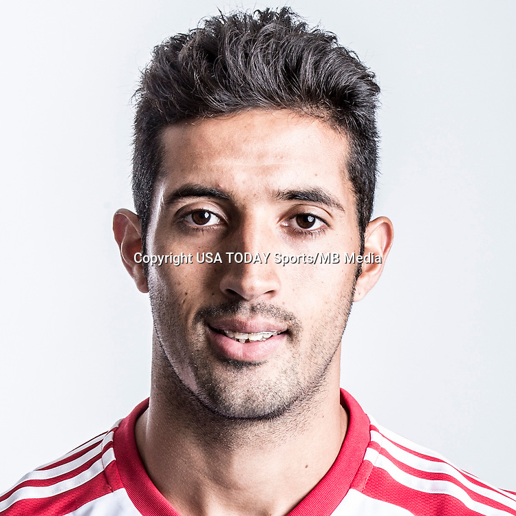 Feb 25, 2016; USA; New York Red Bulls player Gonzalo Veron poses for a photo. Mandatory Credit: USA TODAY Sports