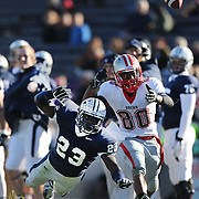 Foyesade Oluokun, Yale, (left), and Jordan Evans, Brown, watch an overthrown pass  during the Yale V Brown, Ivy League Football match at Yale Bowl. Yale won the match 24-17. New Haven, Connecticut, USA. 9th November 2013. Photo Tim Clayton