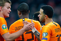 24-03-2019 NED: UEFA Euro 2020 qualification Netherlands - Germany, Amsterdam<br /> Netherlands lost the match 3-2 in the last minute / Memphis Depay #10 of The Netherlands scores the 2-2, Matthijs de Ligt #3 of The Netherlands