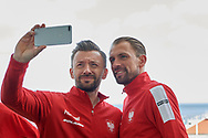 Sopot, Poland - 2018 April 06: (L) Michal Przysiezny from Poland (R) Lukasz Kubot from Poland pose to the selfie picture while Meet & Greet event one day before Poland v Zimbabwe Tie Group 2, Europe/Africa Second Round of Davis Cup by BNP Paribas at 100 years of Sopot Hall on April 06, 2018 in Sopot, Poland.<br /> <br /> Mandatory credit:<br /> Photo by © Adam Nurkiewicz / Mediasport<br /> <br /> Adam Nurkiewicz declares that he has no rights to the image of people at the photographs of his authorship.<br /> <br /> Picture also available in RAW (NEF) or TIFF format on special request.<br /> <br /> Any editorial, commercial or promotional use requires written permission from the author of image.