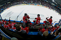 KELOWNA, CANADA - APRIL 7: Portland Winterhawks' coaches Kyle Gustafson, Mike Johnston and Oliver David stand on the bench at the Kelowna Rockets on April 7, 2017 at Prospera Place in Kelowna, British Columbia, Canada.  (Photo by Marissa Baecker/Shoot the Breeze)  *** Local Caption ***