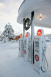 """Snowy Flying A in Truckee 1"" - These snow covered Flying A gasoline pumps were photographed in the early morning in Downtown Truckee, CA."