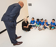 Harris County Department of Education Superintendent James Colbert talks with students before a ribbon cutting ceremony for the new Baytown Head Start and Early Head Start facility, May 23, 2019.