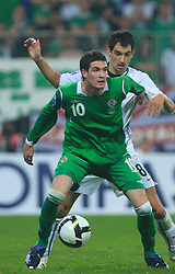 Kyle Lafferty and Branko Ilic (18) at the fourth round qualification game of 2010 FIFA WORLD CUP SOUTH AFRICA in Group 3 between Slovenia and Northern Ireland at Stadion Ljudski vrt, on October 11, 2008, in Maribor, Slovenia.  (Photo by Vid Ponikvar / Sportal Images)
