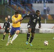 Dundee's Christian Nade holds off Cowdenbeath captain John Armstrong - Cowdenbeath v Dundee, SPFL Championship at Central Park<br /> <br />  - &copy; David Young - www.davidyoungphoto.co.uk - email: davidyoungphoto@gmail.com