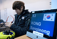 Lee Hyo Been (166) of South Korea waits for his start in the Men's 1000 Meters on day three of the 2013 ISU Short Track Speed Skating Junior World Championships at Torwar Ice Hall on February 24, 2013 in Warsaw, Poland...Poland, Warsaw, February 24, 2013...Picture also available in RAW (NEF) or TIFF format on special request...For editorial use only. Any commercial or promotional use requires permission...Photo by © Adam Nurkiewicz / Mediasport