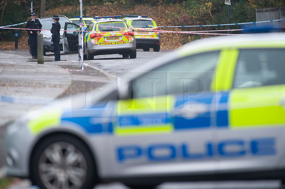 © Licensed to London News Pictures. 16/11/2018. Orpington, UK.A police cordon is in place with police standing guard after a 17 year old boy was stabbed multiple times in an attack last night in Eltham. Police were called at 10.25pm.The teenager remains critical but stable.Photo credit: Grant Falvey/LNP