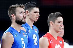 06.09.2014, Jahrhunderthalle, Breslau, POL, Venezuela vs Serbien, Gruppe A, im Bild VLADO PETKOVIC, MARKO PODRASCANIN, NIKOLA ROSIC , HYMN NARODOWY PREZENTACJA ZESPOLOW // during the FIVB Volleyball Men's World Championships Pool A Match beween Uenezuela and Serbia at the Jahrhunderthalle in Breslau, Poland on 2014/09/06. EXPA Pictures © 2014, PhotoCredit: EXPA/ Newspix/ Michal Stanczyk<br /> <br /> *****ATTENTION - for AUT, SLO, CRO, SRB, BIH, MAZ, TUR, SUI, SWE only*****