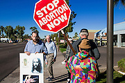 18 JANUARY 2003 - TEMPE, AZ: A handful of pro-life demonstrators picketed a women's health clinic to protest against abortion.     PHOTO BY JACK KURTZ