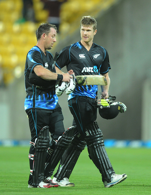 New Zealand's Luke Ronchi, left and Jimmy Neesham leave the pitch after their team defeated West Indies in the second T20 International cricket match, Westpac Stadium, Wellington, New Zealand, Wednesday, January 15, 2014. Credit:SNPA / Ross Setford