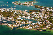 Aerial of Marsh Harbour the Abacos, Bahamas.