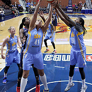 UNCASVILLE, CONNECTICUT- MAY 05:  Erika de Souza #41, (left) and Jessica Breland #51 of the Chicago Sky rebound during the San Antonio Stars Vs Connecticut Sun preseason WNBA game at Mohegan Sun Arena on May 05, 2016 in Uncasville, Connecticut. (Photo by Tim Clayton/Corbis via Getty Images)