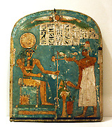 Stele depicting a falcon, scarab and gods; from the new kingdom 19th dynasty 1280 BC