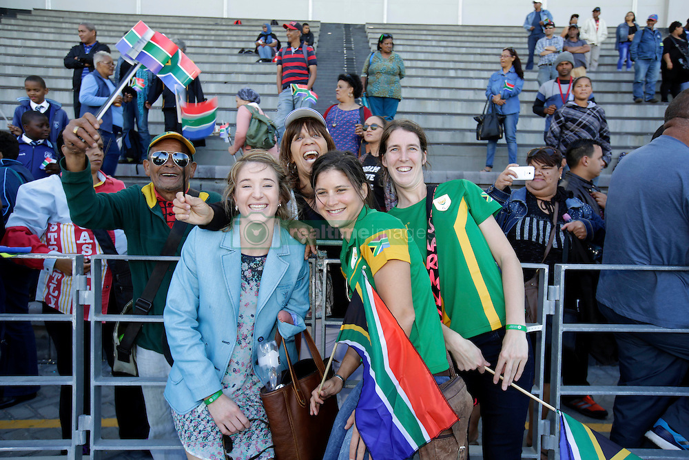 Monday 17th October 2016.<br /> Grand Parade & Greenpoint Athletics Stadium, Cape Town,<br /> Western Cape, South Africa.<br /> <br /> Cape Town Honours South African Olympic And Paralympic Heroes<br /> <br /> Paralympians Ilse Hayse and Anruné Liebenberg and others pose with fans while signing autographs for school children at Greenpoint Athletics Stadium.<br /> <br /> Cape Town honours the South African Olympic and Paralympic heroes during a special celebratory event held in Cape Town, Western Cape, South Africa on Monday 17 October 2016.<br /> <br /> Picture By: Mark Wessels / Real Time Images.