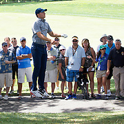 Jordan Spieth, USA, jumps to locate the pin while in the rough on the ninth hole during The Barclays Golf Tournament at The Plainfield Country Club, Edison, New Jersey, USA. 27th August 2015. Photo Tim Clayton