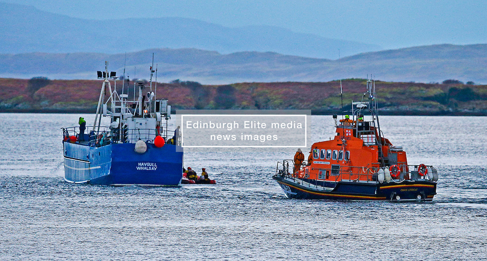 """Oban's RNLB Mora Edith MacDonald assisting the 33 metre cargo vessel """"Havgull"""" after being aground at the Falls of Lora, Connel, Argyll....... (c) Stephen Lawson 