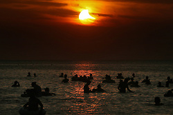 August 11, 2018 - The sun going through a partial solar eclipse in Yantai, east China's Shandong Province.  zwx) (Credit Image: © Tang Ke/Xinhua via ZUMA Wire)