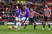 Bolton Wanderers striker Gary Madine (14) scores a goal to make the score2-2 during the EFL Sky Bet Championship match between Sunderland and Bolton Wanderers at the Stadium Of Light, Sunderland, England on 31 October 2017. Photo by Simon Davies.