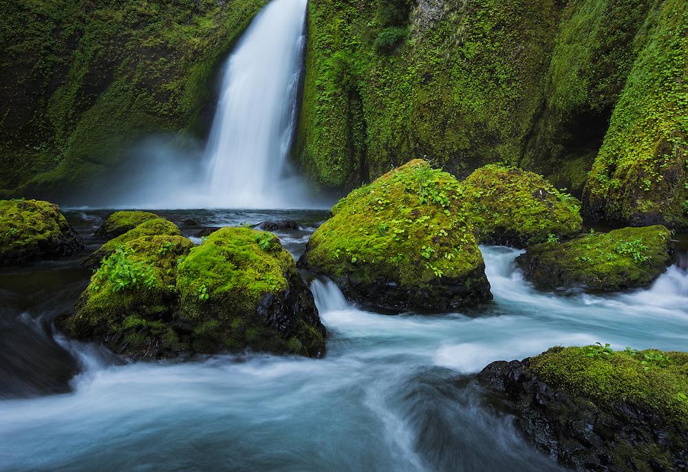 intimate landscape scene of Wahclella Falls, Columbi River Gorge, Oregon