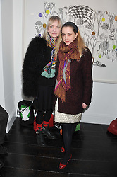 Left to right, JAN DE VILLENEUVE and DAISY DE VILLENEUVE at a private view of art works by Annie Morris entitled 'There is A Land Called Loss' held at Pertwee Anderson & Gold Gallery, 15 Bateman Street, London W1 on 2nd February 2012.