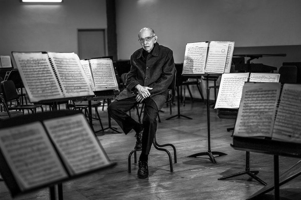 José Antonio Abreu, founder of the El Sistema music program, poses for a portrait in an orchestra practice hall in Caracas, Venezuela.