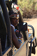 Kenya, Samburu National Park tour guide in traditional dress