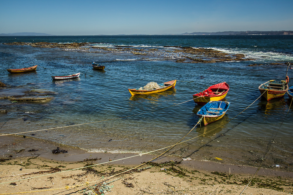 COCHOLGUE, CHILE - MARCH 21, 2014:   Artisanal fishing boats on the beach in Cocholgue, a small fishing village near Concepcion, Chile. PHOTO: Meridith Kohut for The World Wildlife Fund