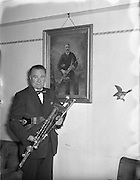 Leo Rowsome making pipes at 9 Belton Park Road.16/06/56,  uilleann pipes,