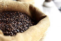 Bag of roasted coffee beans is displayed in a shop of Hoi An, Vietnam, Southeast Asia