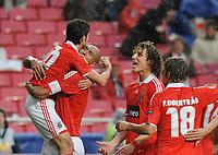 20100223: LISBON, PORTUGAL - SL Benfica vs Hertha Berlin: Europa League 2009/2010 - Round of 32 - 2nd leg. In picture: Pablo Aimar, Luisao, David Luiz and Fabio Coentrao (Benfica). PHOTO: Alvaro Isidoro/CITYFILES