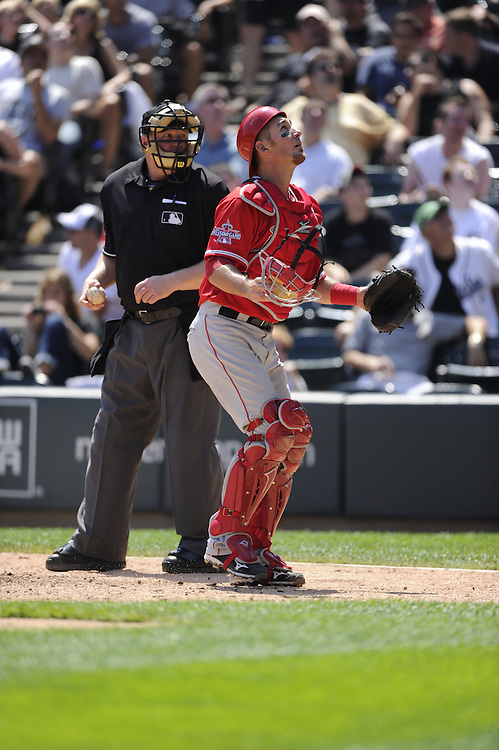 CHICAGO - JULY 08:  Jeff Mathis #5 of the Los Angeles Angels of Anaheim looks to field a foul ball against the Chicago White Sox on July 8, 2010 at U.S. Cellular Field in Chicago, Illinois.  The White Sox defeated the Angels 1-0.  (Photo by Ron Vesely)