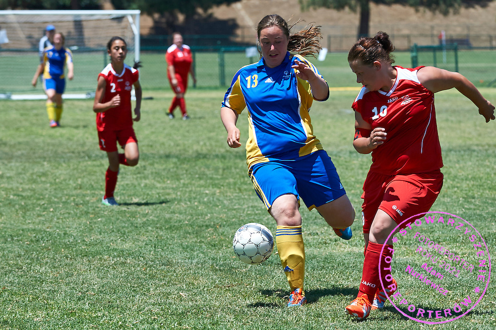 SO Poland athlete (R) fights for the ball with SO Sweden athlete (L) while football women match 7-a-side during fourth day of the Special Olympics World Games Los Angeles 2015 on July 28, 2015 at Balboa Sports Centre in Los Angeles, USA.<br /> USA, Los Angeles, July 28, 2015<br /> <br /> Picture also available in RAW (NEF) or TIFF format on special request.<br /> <br /> For editorial use only. Any commercial or promotional use requires permission.<br /> <br /> Adam Nurkiewicz declares that he has no rights to the image of people at the photographs of his authorship.<br /> <br /> Mandatory credit:<br /> Photo by &copy; Adam Nurkiewicz / Mediasport