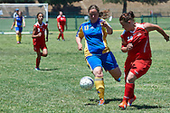 SO Poland athlete (R) fights for the ball with SO Sweden athlete (L) while football women match 7-a-side during fourth day of the Special Olympics World Games Los Angeles 2015 on July 28, 2015 at Balboa Sports Centre in Los Angeles, USA.<br /> USA, Los Angeles, July 28, 2015<br /> <br /> Picture also available in RAW (NEF) or TIFF format on special request.<br /> <br /> For editorial use only. Any commercial or promotional use requires permission.<br /> <br /> Adam Nurkiewicz declares that he has no rights to the image of people at the photographs of his authorship.<br /> <br /> Mandatory credit:<br /> Photo by © Adam Nurkiewicz / Mediasport