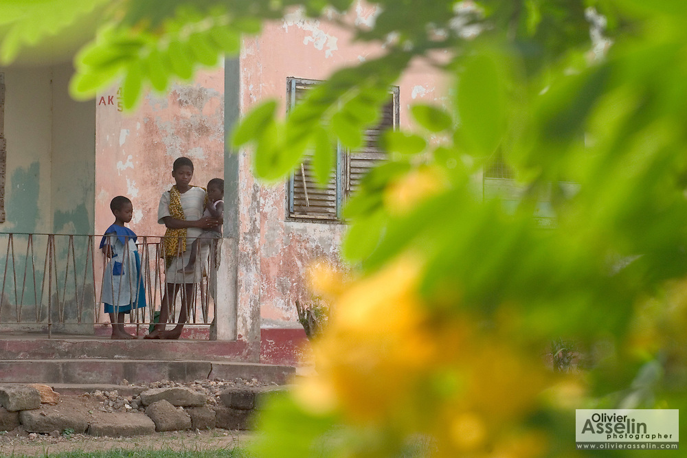 Ghanaian children on porch in small town near Swedru.
