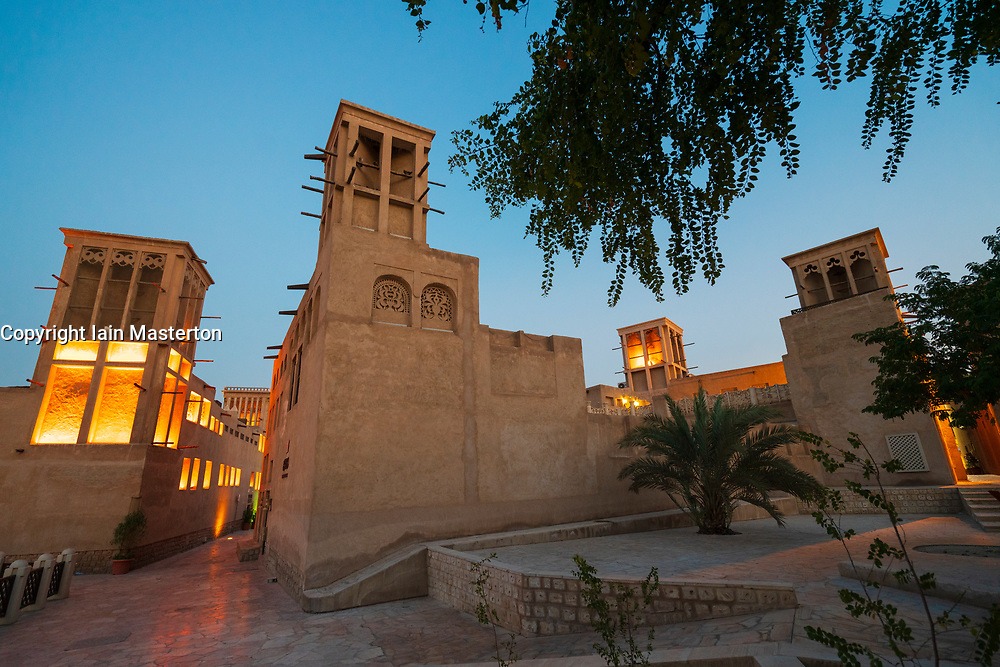 View of old buildings and wind towers at original historic Al Fahidi district , al Bastakiya , in Dubai, United Arab Emirates