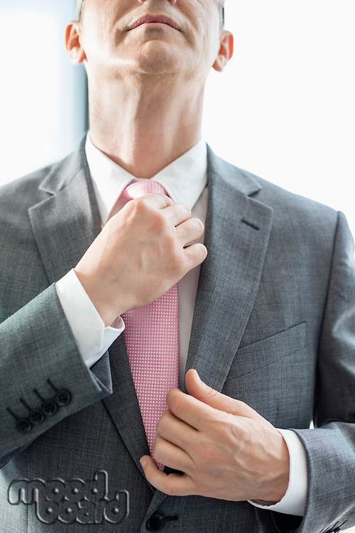 Midsection of mature businessman adjusting tie