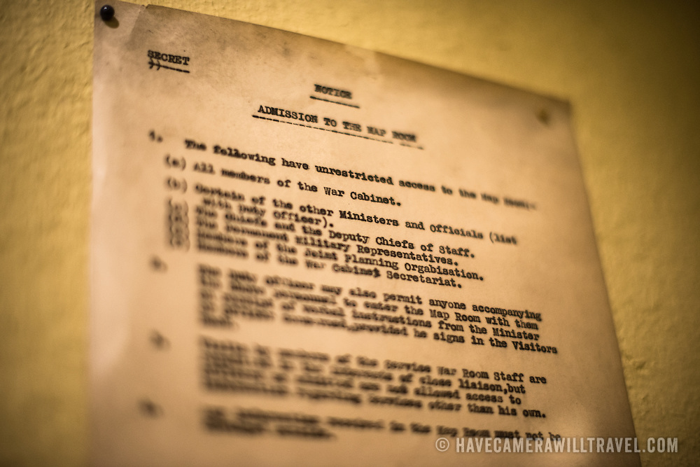 A Secret document lists the rules for those who were allowed access to the Map Room at the Churchill War Rooms in London. The museum, one of five branches of the Imerial War Museums, preserves the World War II underground command bunker used by British Prime Minister Winston Churchill. Its cramped quarters were constructed from a converting a storage basement in the Treasury Building in Whitehall, London. Being underground, and under an unusually sturdy building, the Cabinet War Rooms were afforded some protection from the bombs falling above during the Blitz.