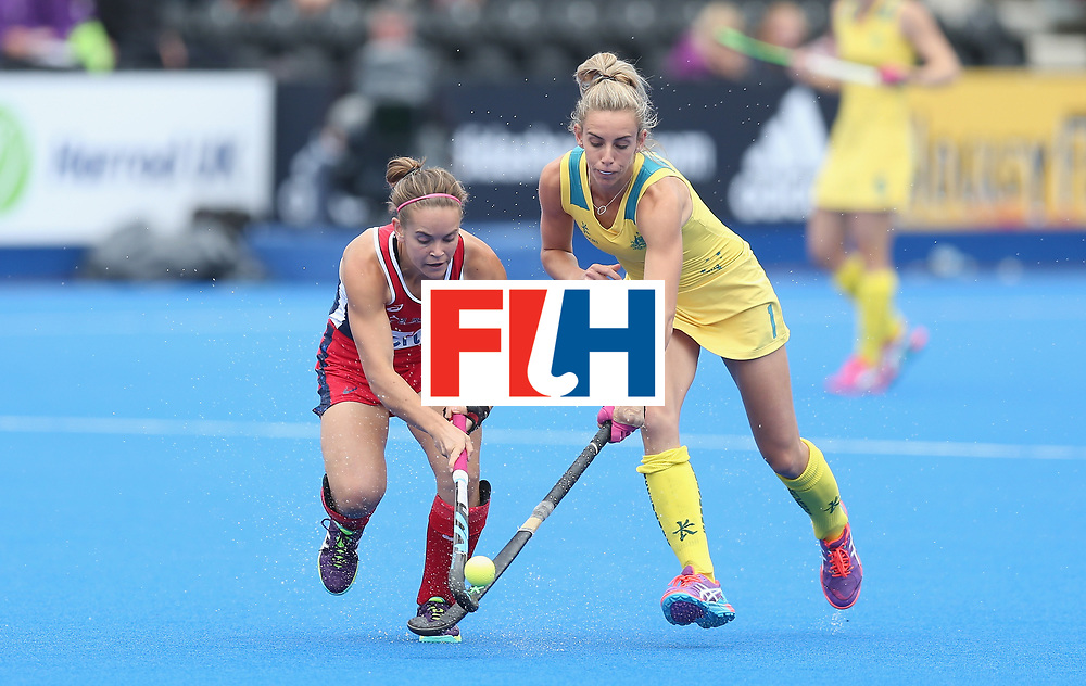 LONDON, ENGLAND - JUNE 18:  Alyssa Manley of USA and Gabi Nance of Australia during the FIH Women's Hockey Champions Trophy match between USA and Australia at Queen Elizabeth Olympic Park on June 18, 2016 in London, England.  (Photo by Alex Morton/Getty Images)