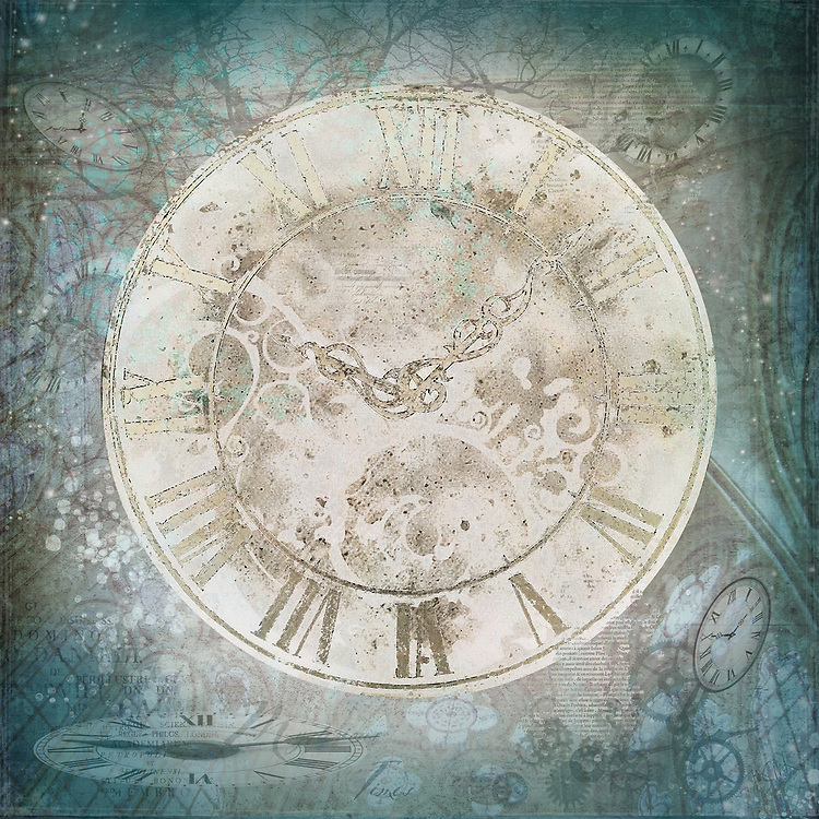 Beige stone clock face on a teal background